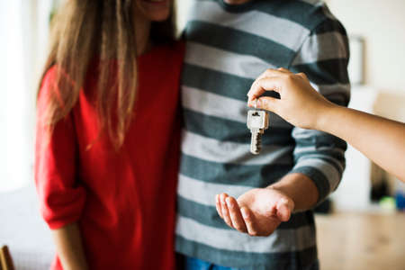 Couple bought new house Standard-Bild