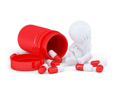 Depressed man taking pills. Isolated on white background
