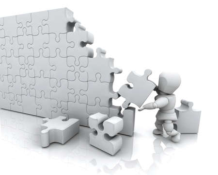 3D render of a man solving a jigsaw puzzle