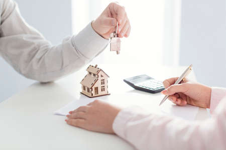 real estate and customer new house Standard-Bild