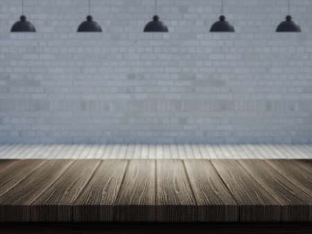 3D render of a wooden table with a defocussed empty room in the background Stock Photo - 107779683