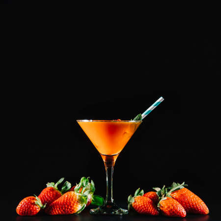 orange and strawberry cocktail