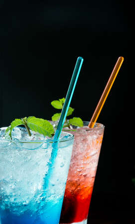 blue hawaiian soda with peppermint on top Standard-Bild
