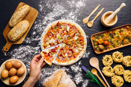 Tasty pizza with ingredients Stock Photo