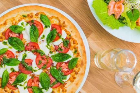 Margarita Pizza Italiana. Pizza Lunch Closeup Photo. Italian Food.