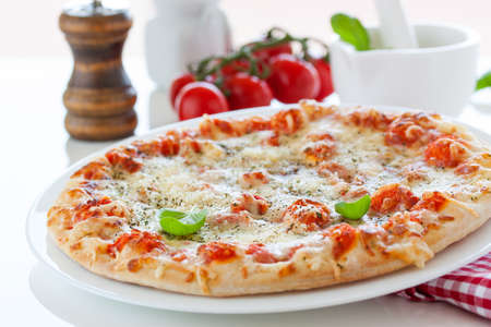 Tasty pizza with tomatoes Stock Photo - 108563296