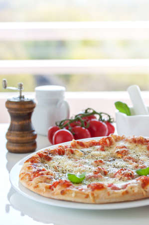 tasty pizza with basilico Stock Photo - 108563298