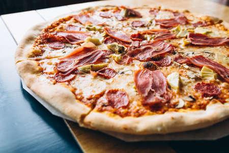 Tasty pizza with meat Standard-Bild