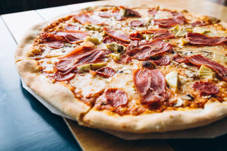 Tasty pizza with meat Banco de Imagens