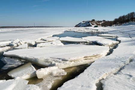 breaking: Ice breaking on the river Volga