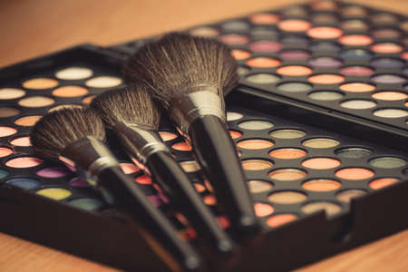 Vintage looking colorful eye shadow with professional makeup brush Фото со стока