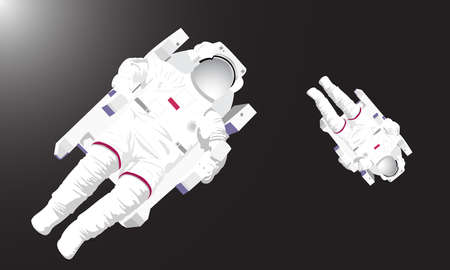 flight helmet: Illustration of two astronauts flying in the dark deep space