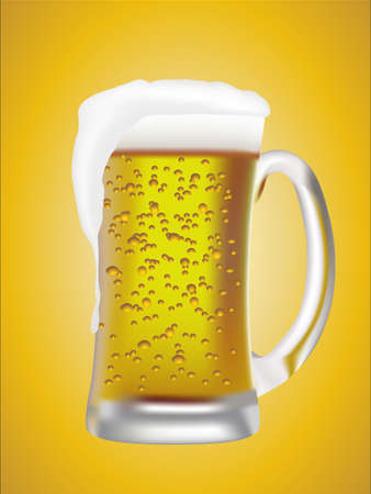 pint: Illustration of a cold pint of beer with a lot of foam