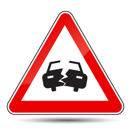 forewarn: Vector illustration of an attention sign with a broken car Illustration