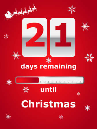 rudolf: Vector illustration with a Christmas counter showing the days left until Christmas