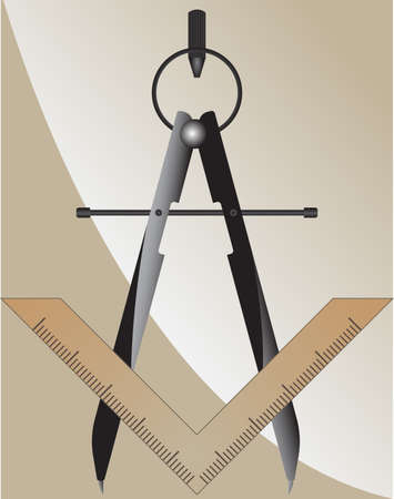 Vector illustration of the masonic square and compass Vector
