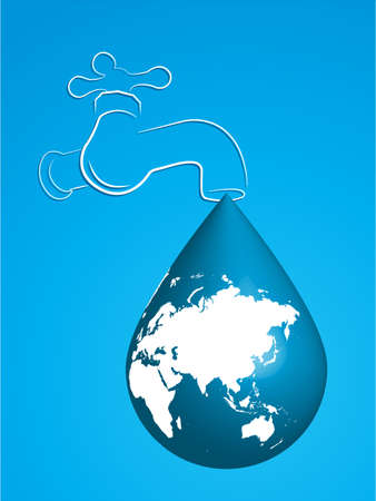 Vector illustration showing a tap with water drop in the shape of the Earth. Message shows the water being wasted.