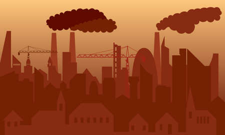 polluted cities: Vector illustration of an abstract polluted city