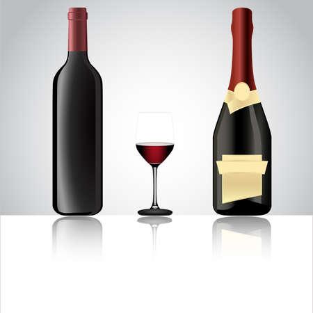 bottle of champagne: Vector illustration of a wine bottle, champagne bottle and a glass
