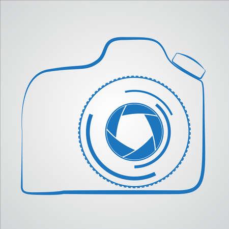 dslr: DSLR camera outline symbol, dark on white background