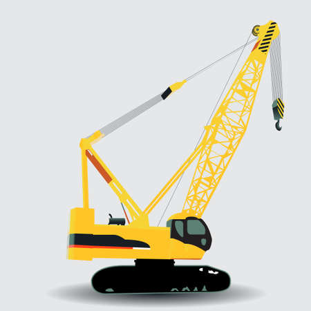 crawler: Vector illustration of a yellow hydraulic crawler crane used on construciton sites