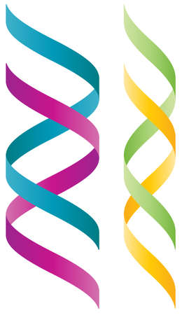Colorful 3D double helix logo wich resembles to a DNA string Vector