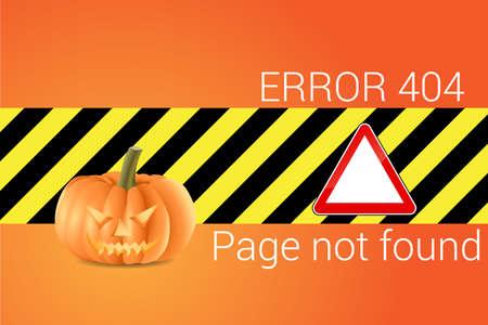 error message: Vector illustration of the 404 error message with a Halloween pumpkin