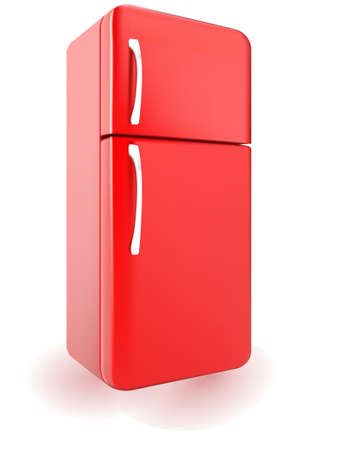 Vector illustration of a red retro refrigerator isolated on a white background Иллюстрация