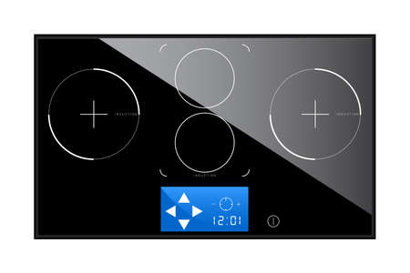hob: Top view of a vector illustrated induction hob