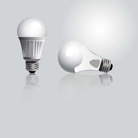 led: Vector illustration of a tradition and an LED light bulb