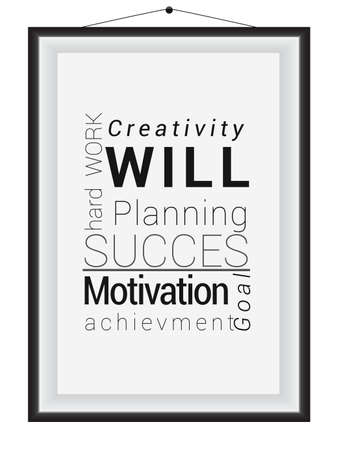 lexical: Vector illustration of a photo frame showing words related to success Illustration