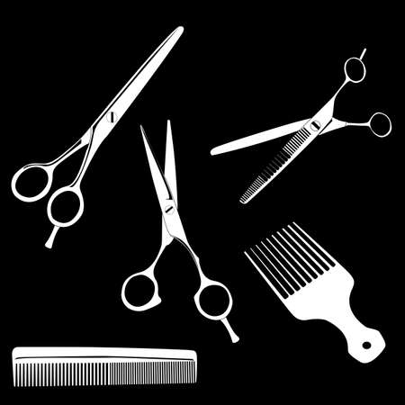 haircare: Vector illustration of hairdressing scissors and combs on black background Illustration