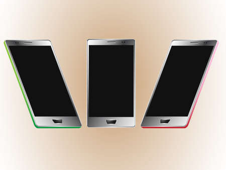 combinations: Vector illustration of a smartphone frtom three different perspectives and color combinations
