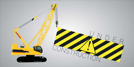 heavy load: Vector illustration of a crane lifting a heavy load with under construction message and warning sign