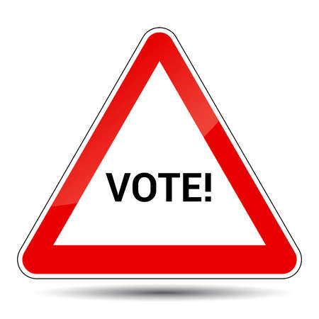 forewarn: Vector illustration of an attention sign with VOTE message Illustration