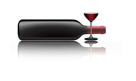bottle of wine: Vector illustration of a red wine bottle lying on the side and a glass filled with wine Illustration