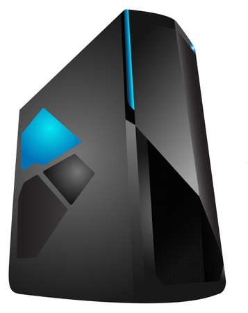 isolated on gray: Vector illustration of an isolated gray server with blue led Illustration