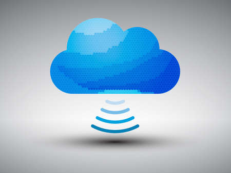 bandwidth: Vector illustration of cloud computing with wireless binary information transfer