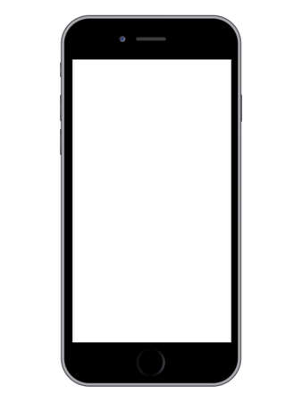 Vector illustration of a modern smartphone with white screen on white background