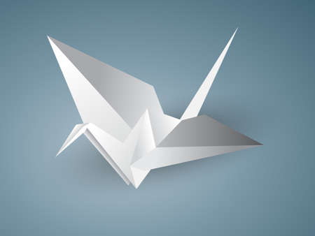crane origami: Vector illustration of a crane origami isolated on a blue background