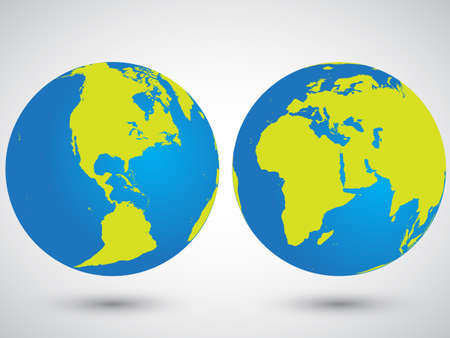 Two globes with America, Asia, Europa and Africa