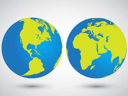 wereldbol: Twee globes met Amerika, Azië, Europa en Afrika