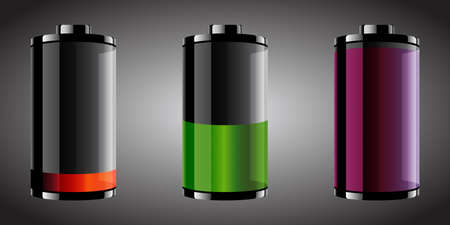 Vector illustration of three glossy style batteries with different color and set levels