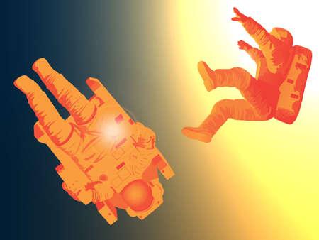 drifting: Astronauts drifting in deep space towards the sun Illustration