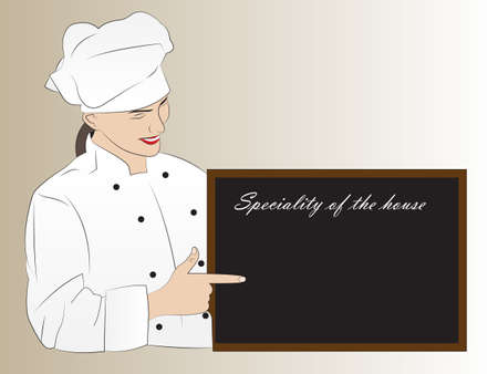 speciality: Vector illustration of a pretty chef presenting on the blackboard the speciality of the house