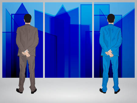Businessmen looking through window to abstract skyscrapers