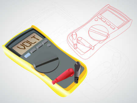 Vector illustration of a digital multimeter with blank buttons