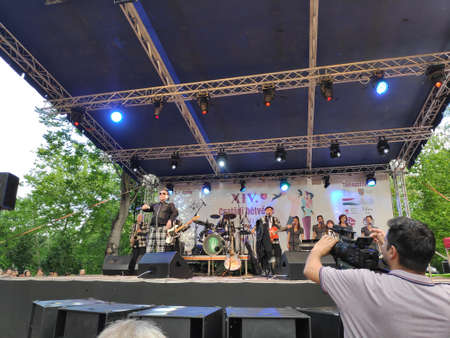Satu Mare / ROMANIA - May 18 2019 - Former Hungaria's band member Fenyő Miklós performs with his new roabilly  band on the 15th edition  of Family weekend which took place in Satu Mare.