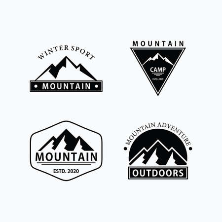set of retro vintage mountain logo design template, adventure logo, label, stamp vector template Illustration