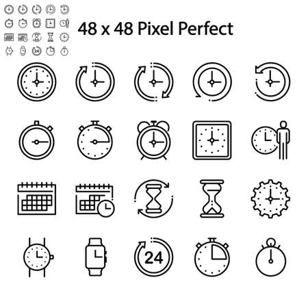 clock icon set isolated on white background